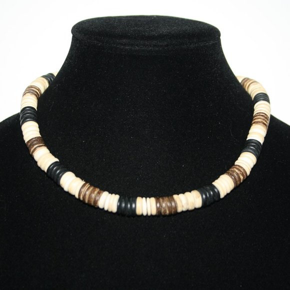 """Beautiful beachy wooden necklace 17"""""""